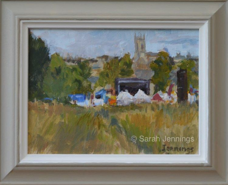 Stamford music festival from the meadows (plein air-The Great Stamford Brush Off July 2016) (SOLD)