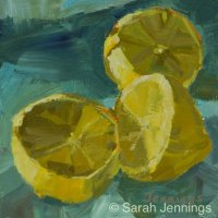 Lemons on blue (daily painting) (SOLD)