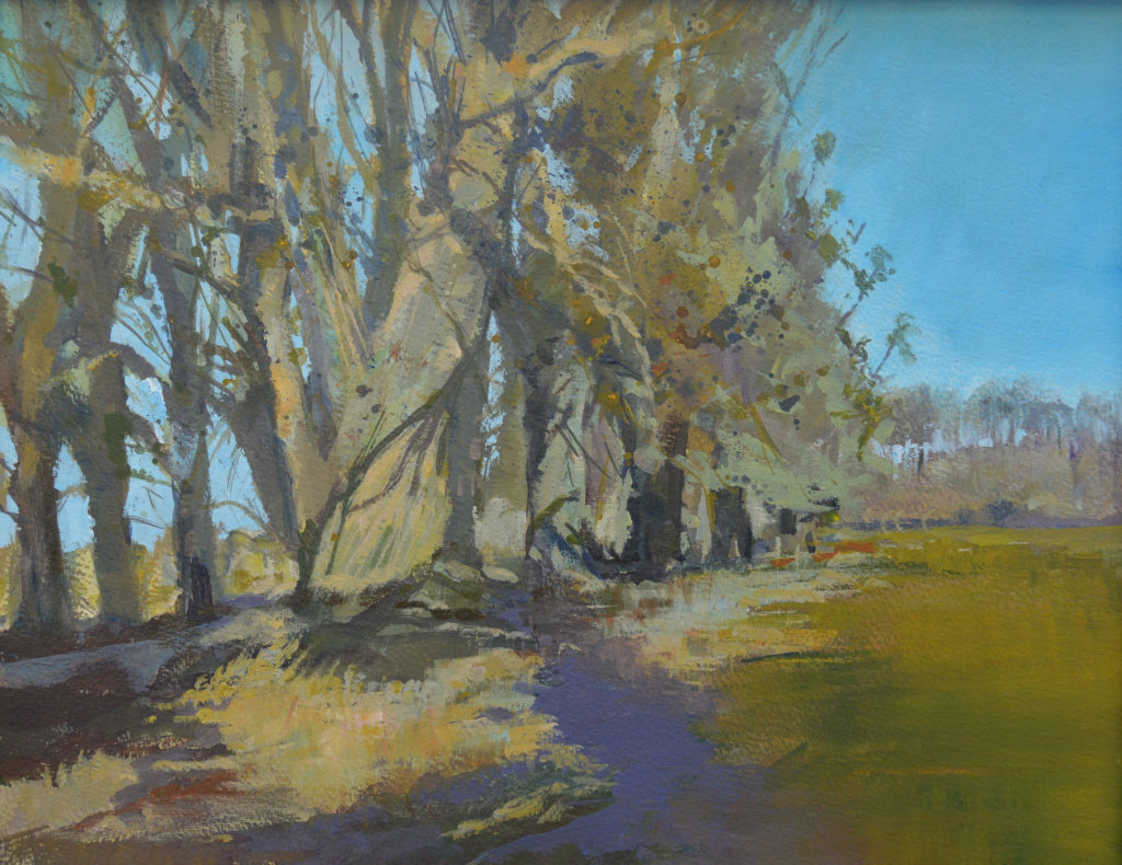 Blue Sky, Purple Shadows  (currently on exhibition at Stamford Arts Centre priced £295 framed)