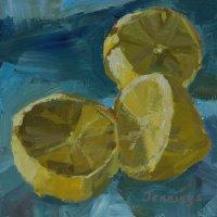 Giclee Print - Lemons on blue