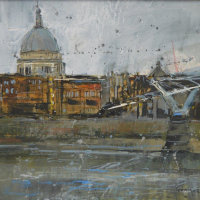 A Glimpse of St. Paul's in the February Rain (sold)