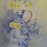 Blue China with Daffs SOLD