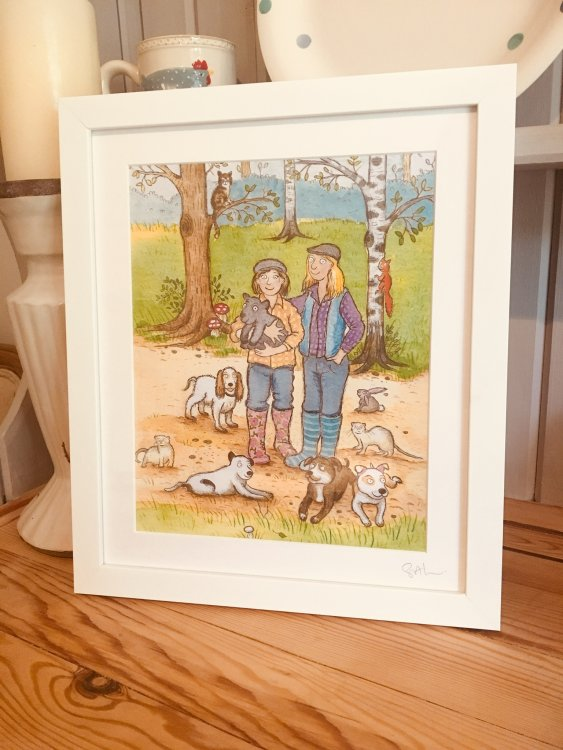 Framed original painting with a background from photos