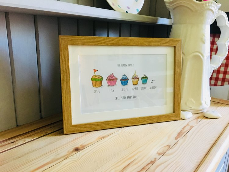 Cupcake personalised family prints framed