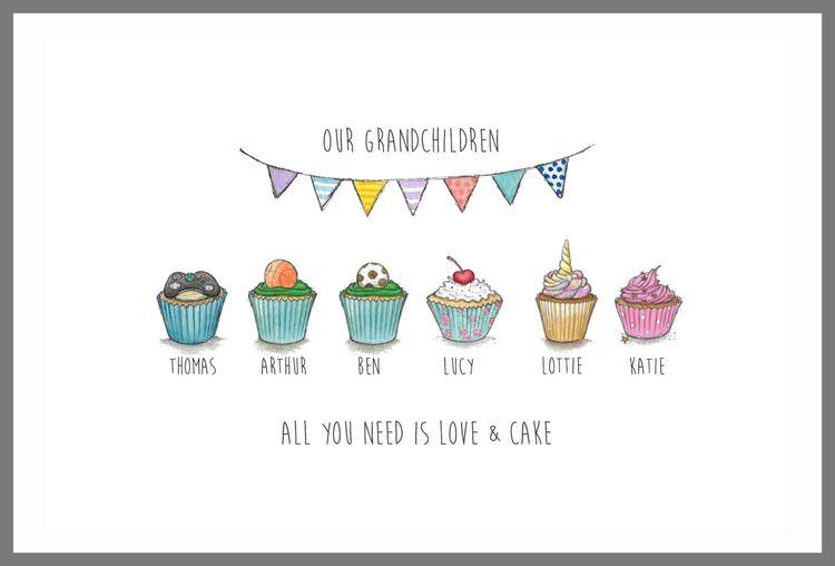 Cupcake family kitchen prints