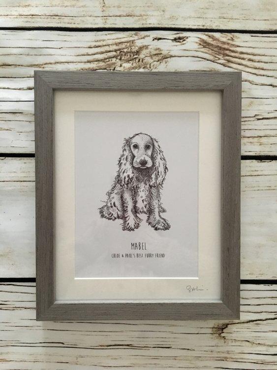Grey wood frame pen drawing