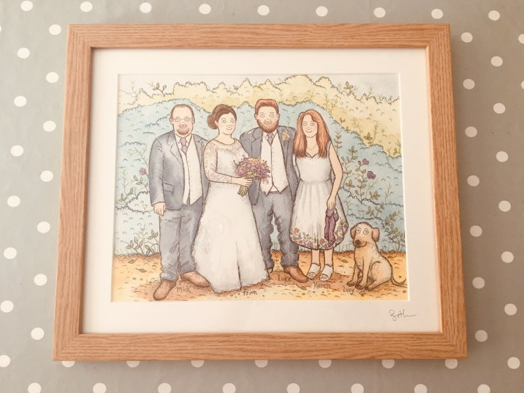 Family illustrations £79 framed original with background