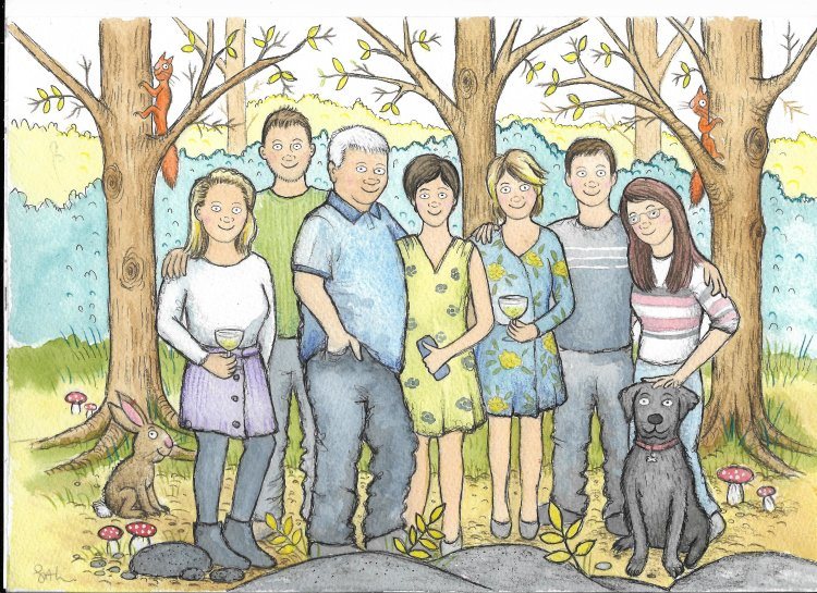 Family illustration from photos