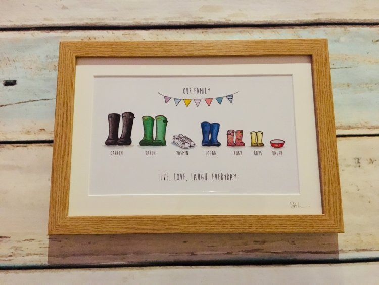 Wellie boot prints framed