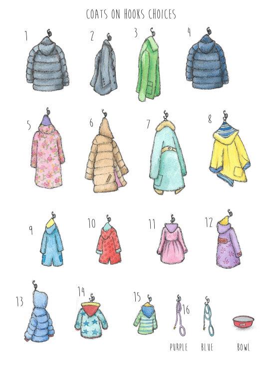 Coats on hooks choices