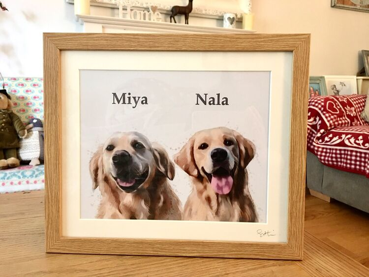 Framed double dog portrait