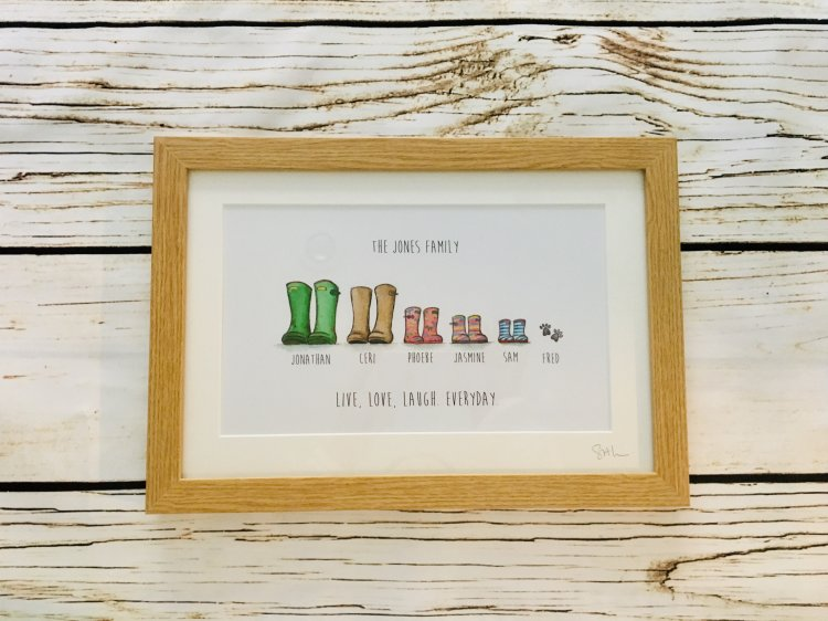 Wellie boot pictures £28 oak frame