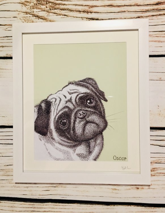 framed pen drawing of your pet