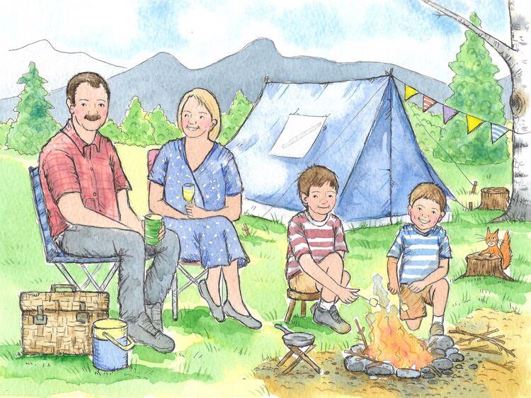 Family camping holiday