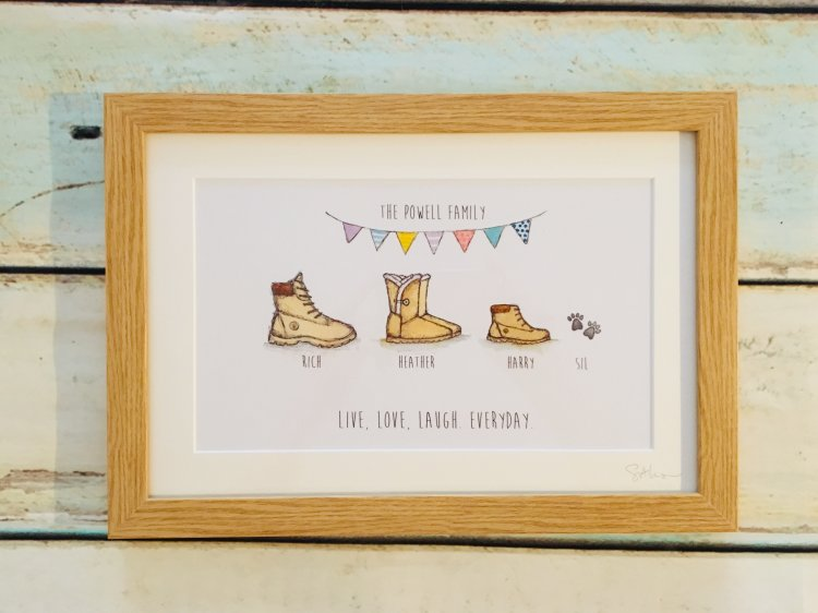 framed shoe/wellie boots print