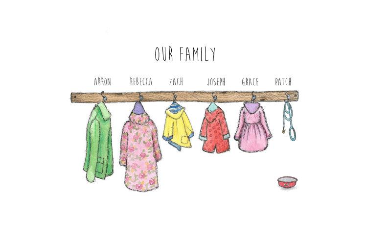Coats on hooks family prints unframed