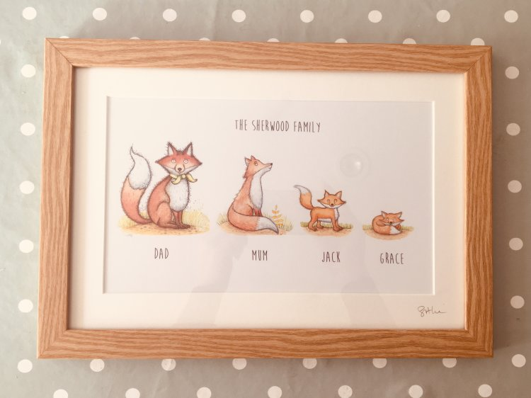 Framed fox family picture personalised
