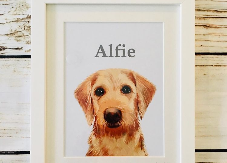 Framed pet portraits available in white or oak