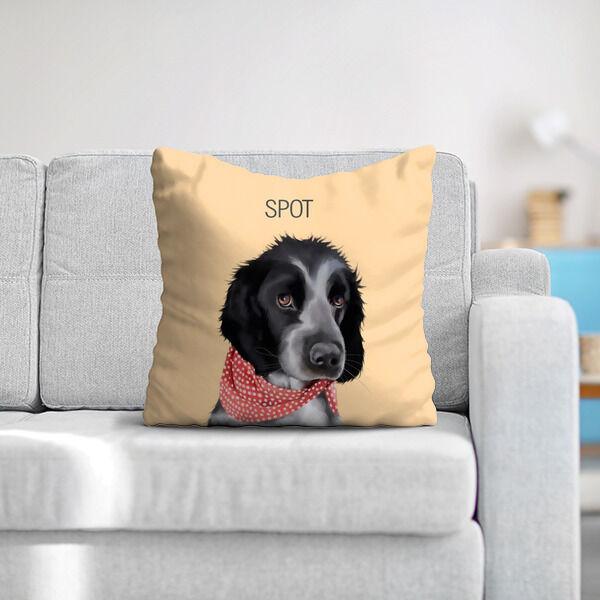 Pet portrait on a cushion