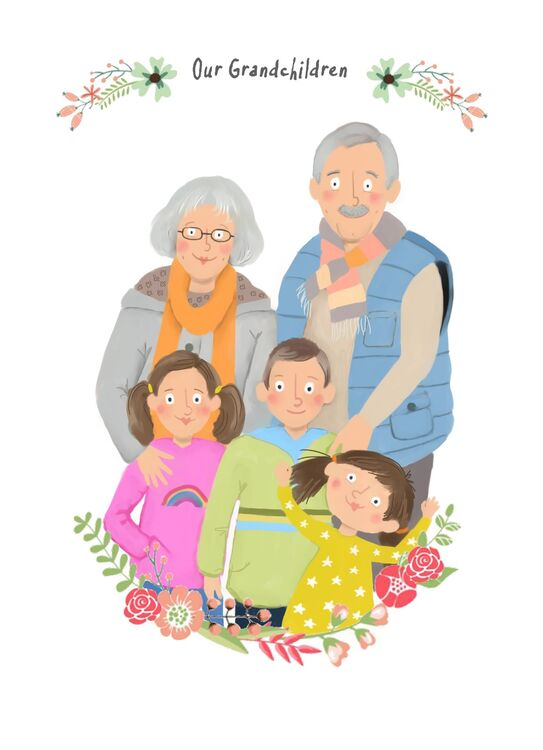 Digital hand drawn family portraits from photos