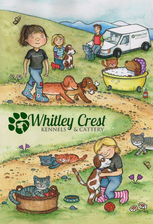 Brochure cover for Whitley Crest Kennels and cattery.