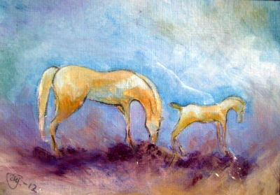 Impressionistic Mother and Foal