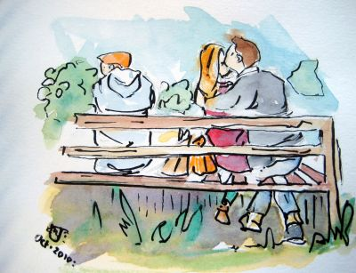 ...kissing in the park!
