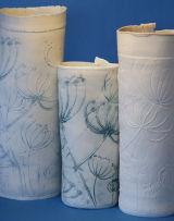 Scraffito & relief cowparsley vessels