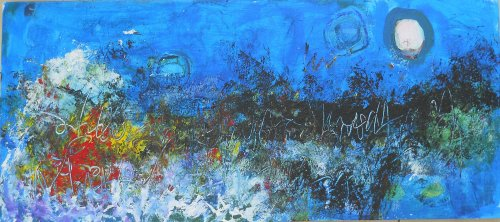 birds chattering in the moonlight 40 x 100cm