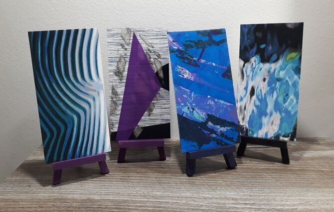 Mounted Mini Prints, Painted Easel Display