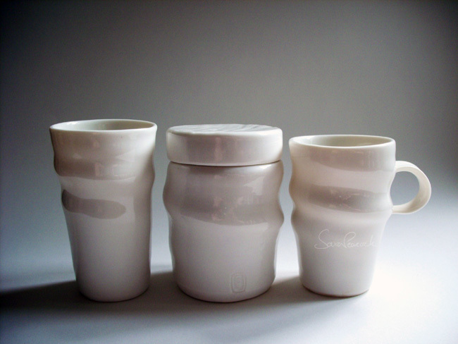 Beaker, lidded pot and cup