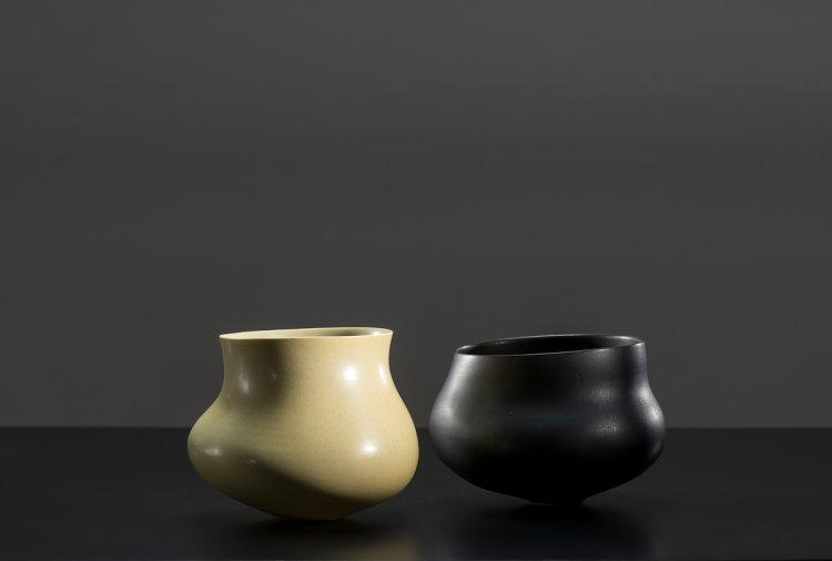 Pair Camber Bowls - Celadon-Yellow, Manganese-Black