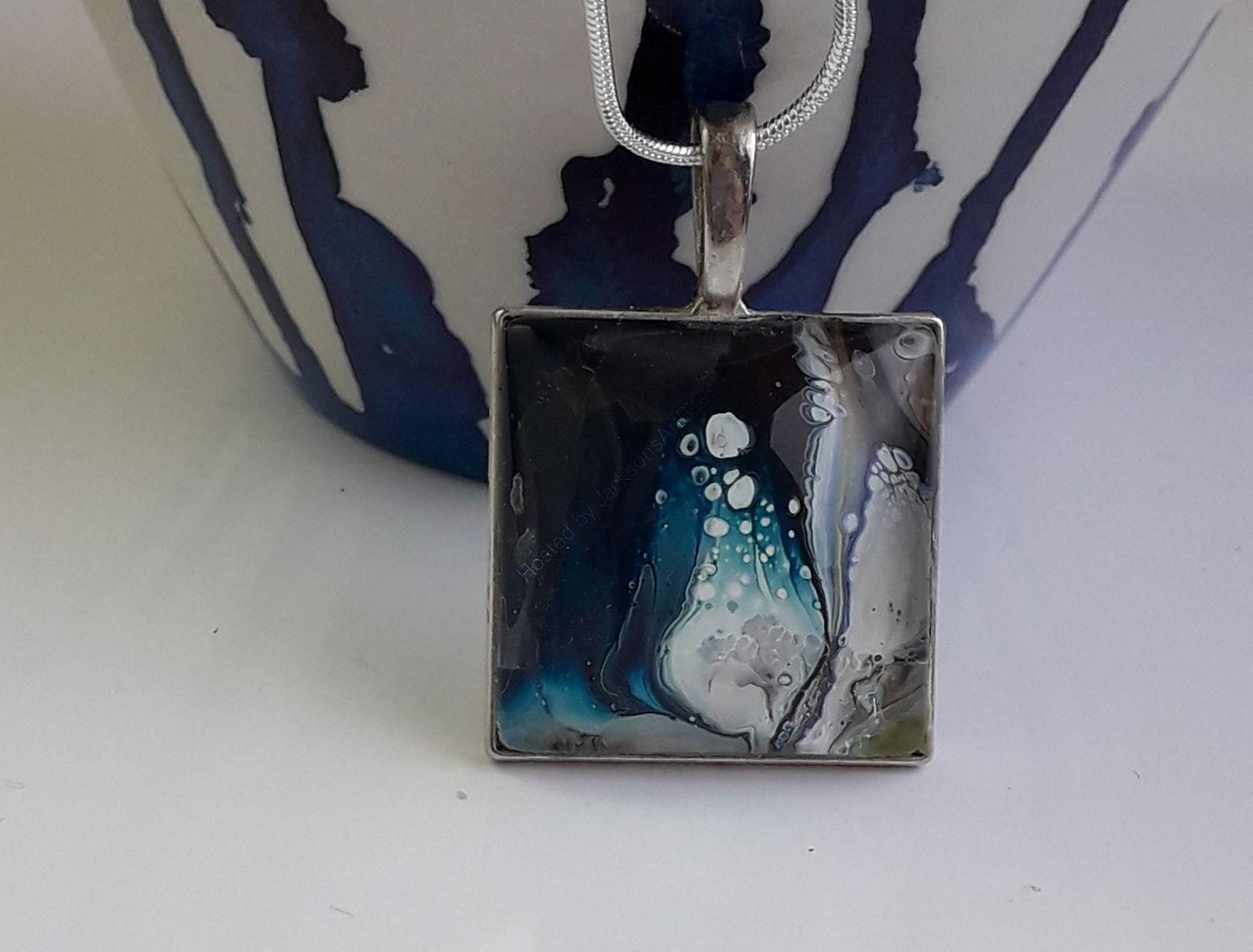 Blue Swirl Square Pendant