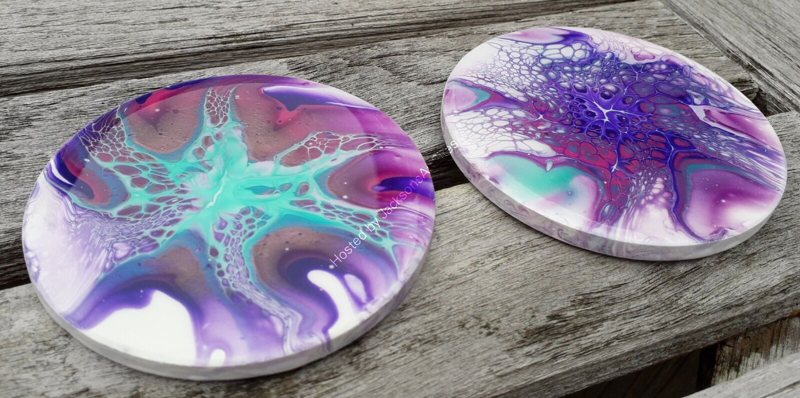 Purple, Turquoise & Bronze Round Coasters