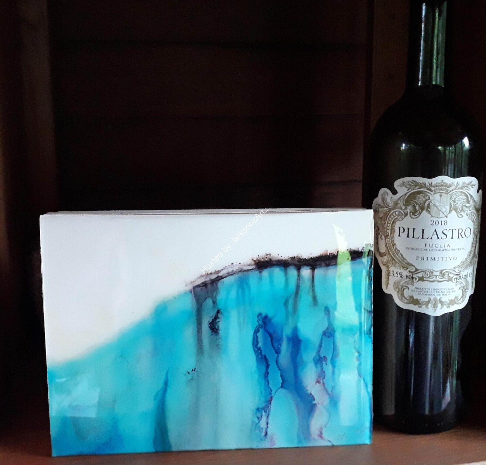 Blue Landscape with wine bottle