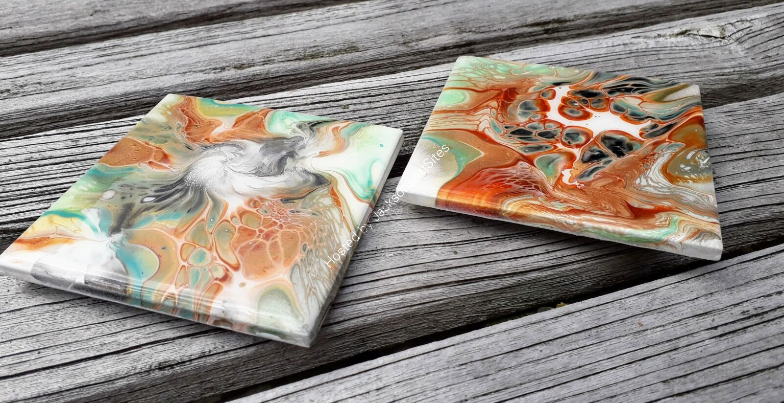 Two Copper, Green, Black & White Coasters