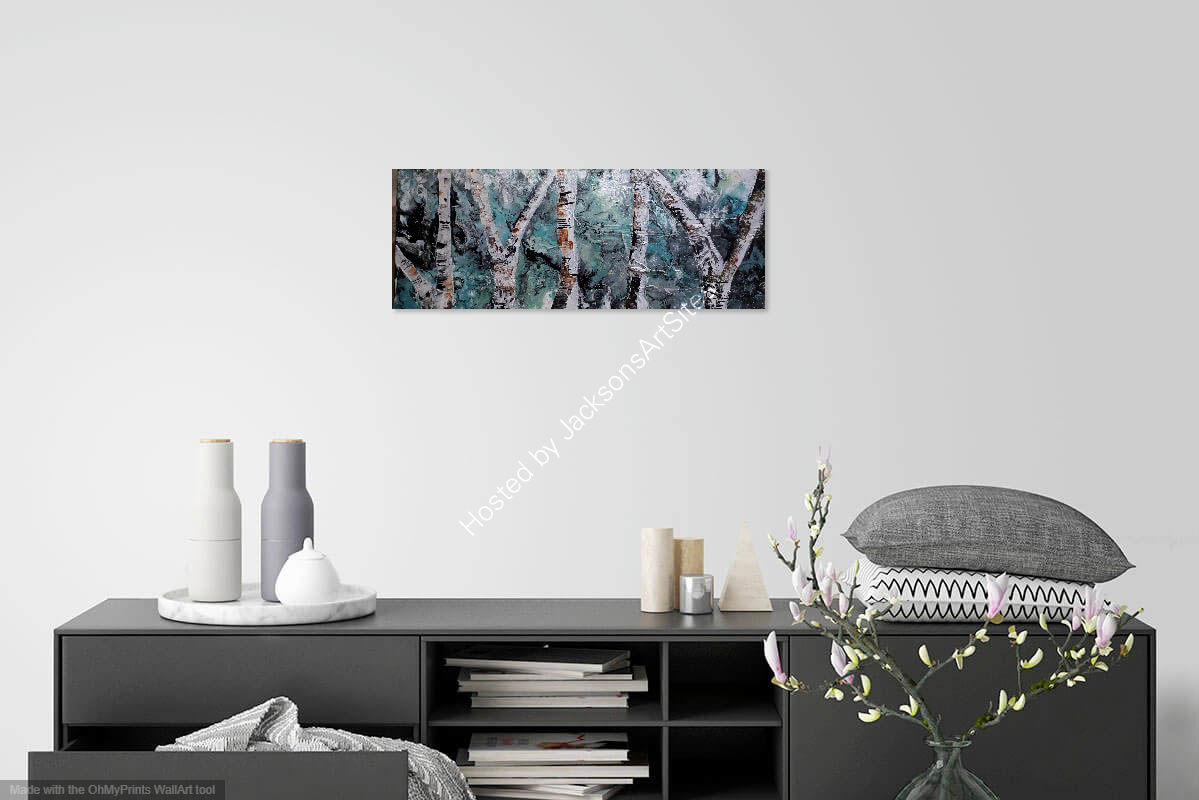 Silver birches on wall
