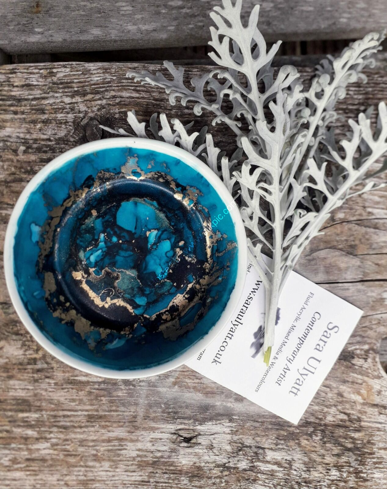 Blue & Brass Trinket Dish