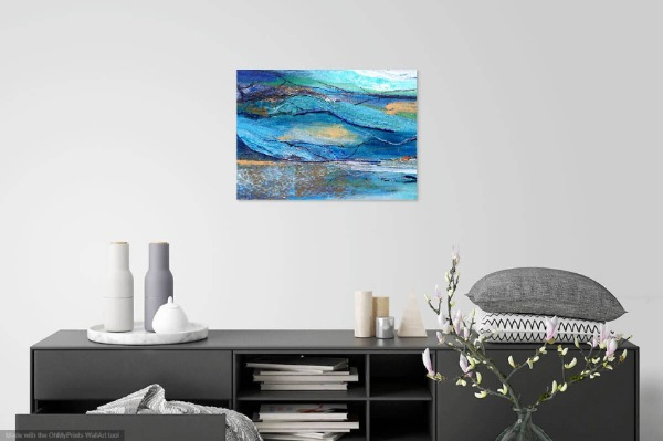 Blue Mixed media Landscape on wall