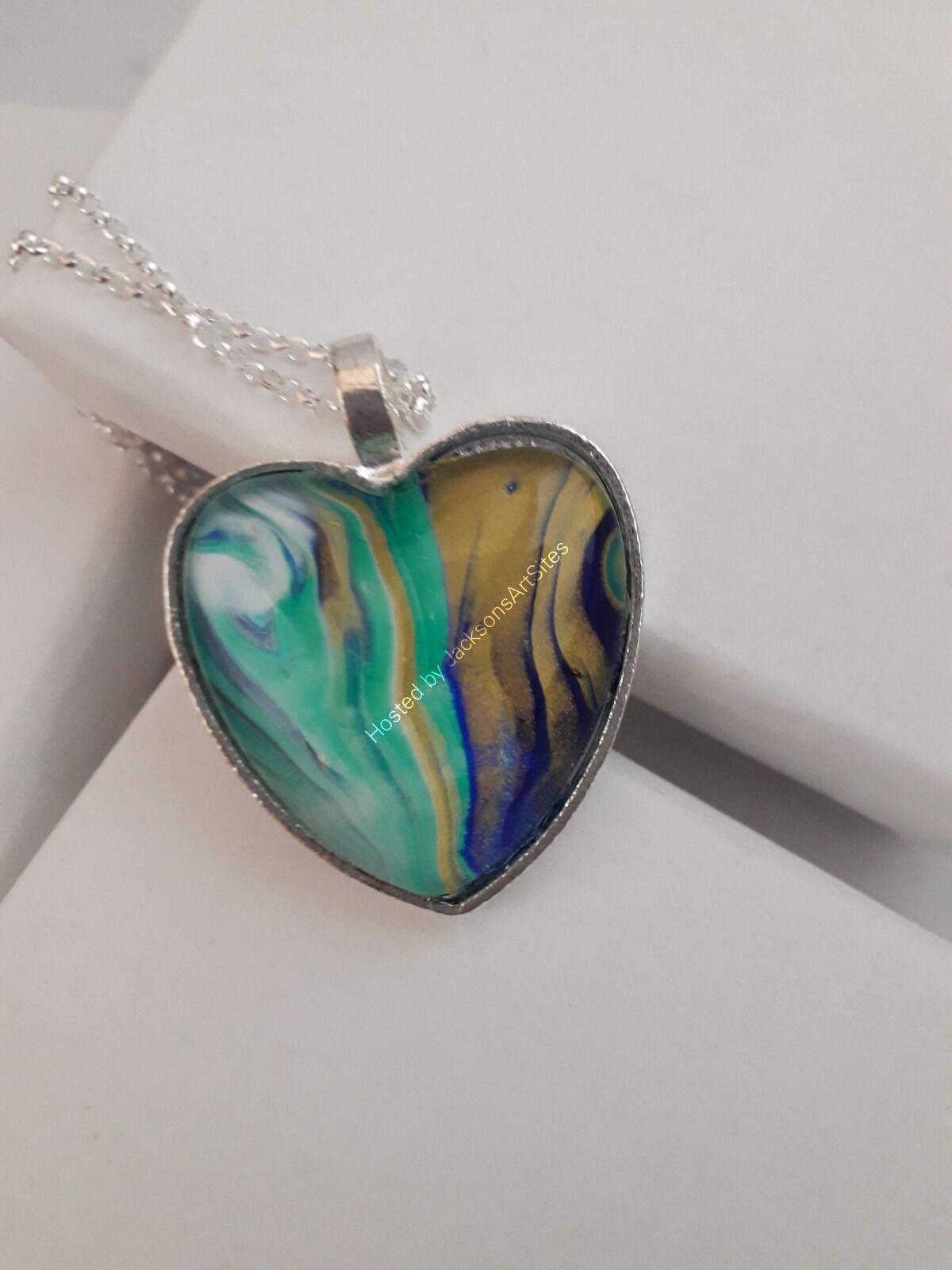 Gold & Teal Heart Pendant