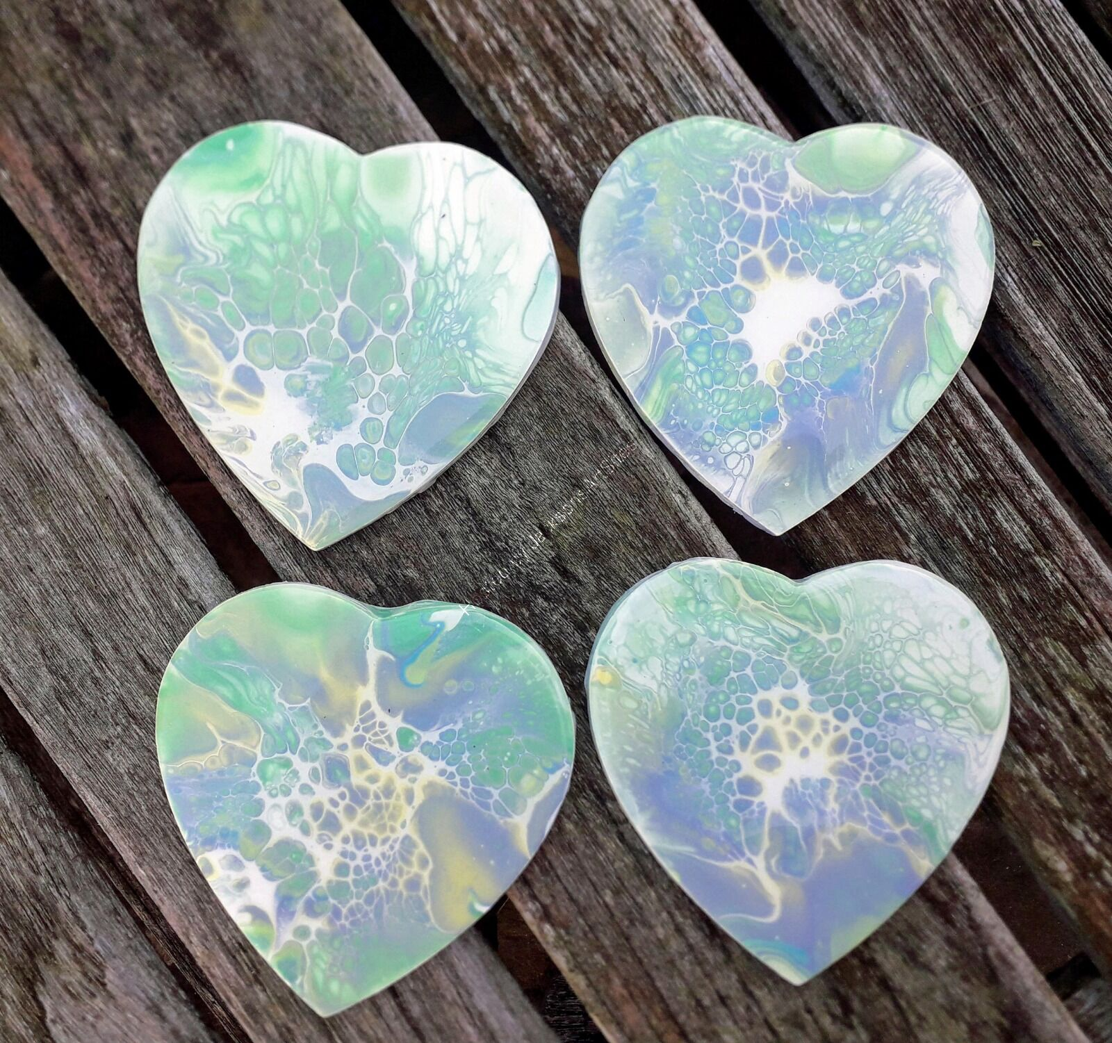 Four Pale Green Wooden Heart Coasters
