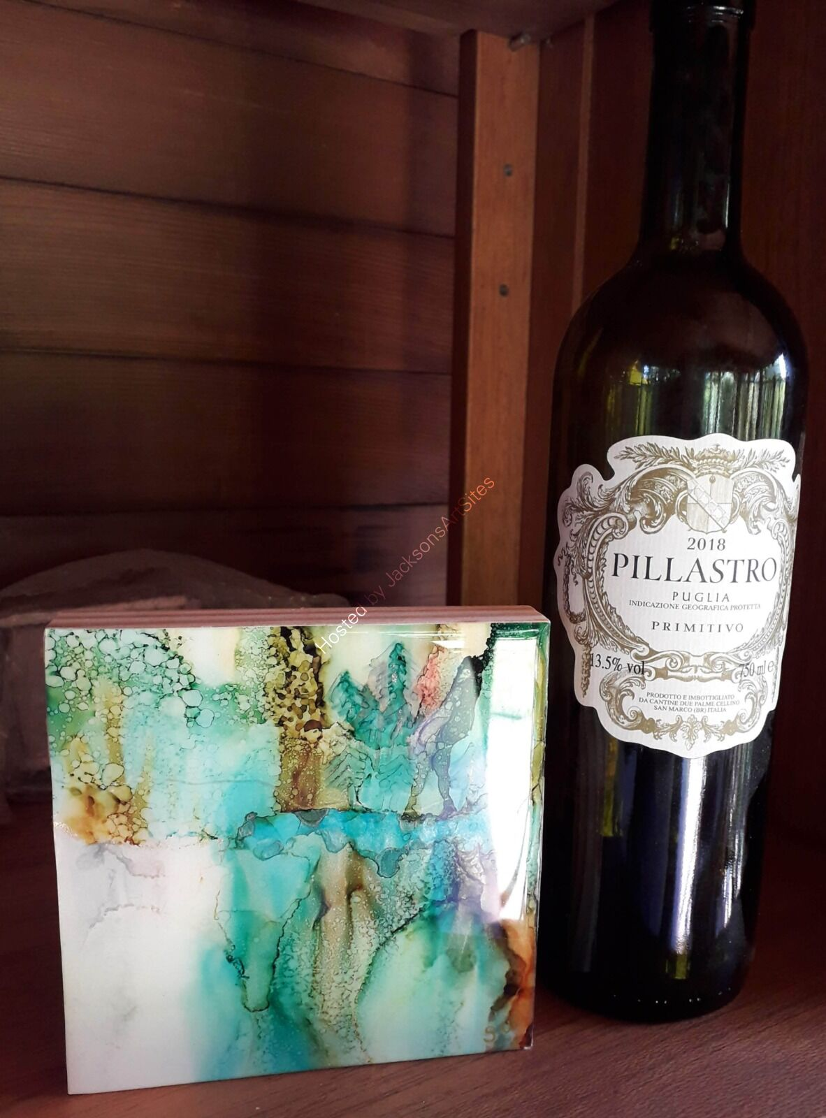 Green woods with wine