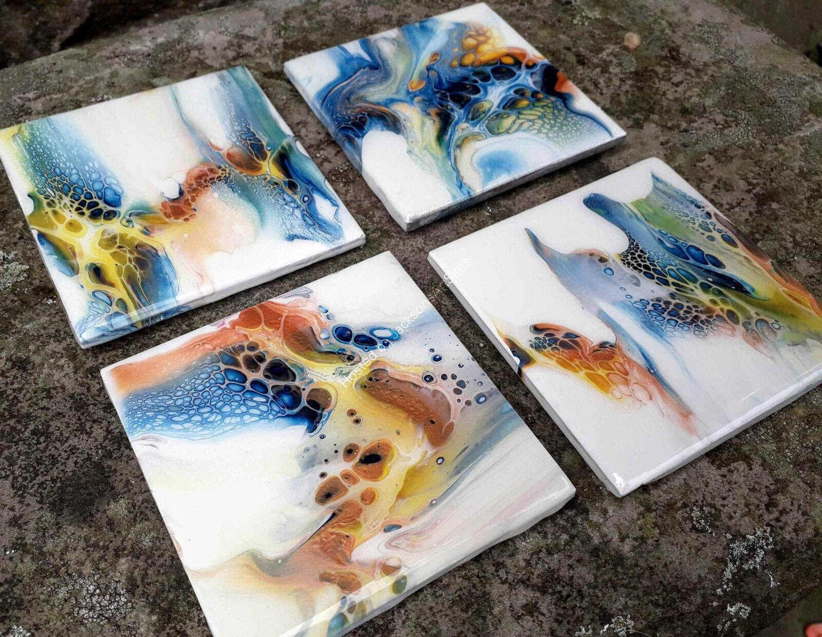 Set of Four Coasters - Blue, Bronze, Yellow and White