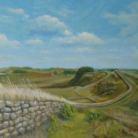 Hadrian's Wall oils on canvas board