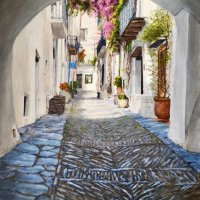 In the footsteps of Dali, Cadaques (acrylics on canvas board