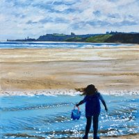 Water attraction Sandsend  (Acrylics on canvas board)