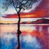 'Lone tree' sunset - acrylics