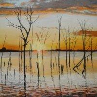 sunset reservoir pastels