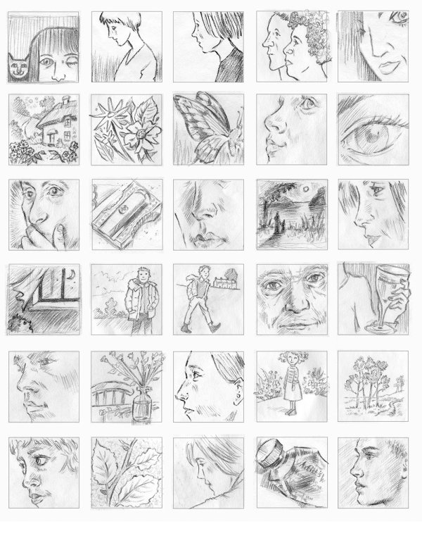 1 inch pencil drawings for 'House of Illustration' challenge 2018