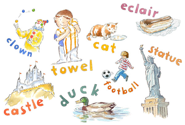 watercolour illustration_sally barton_alphabet_children's images